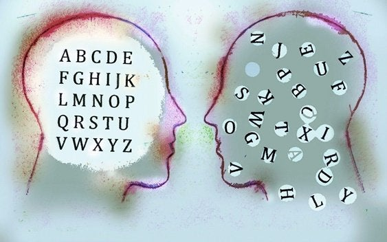 faces with letters inside them symbolizing emotional illiteracy