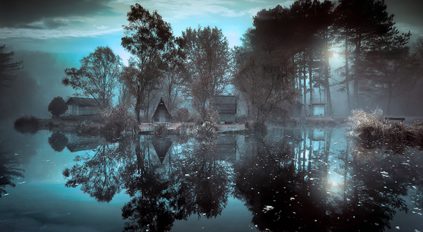 nightfall on a lake