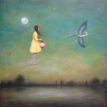 a girl tied to a bird