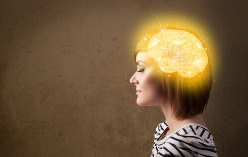 A woman with an illuminated brain from self-hypnosis.
