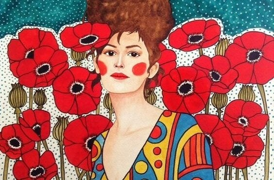 Committed people, woman with poppies
