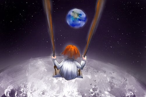 Boy on swing on the moon