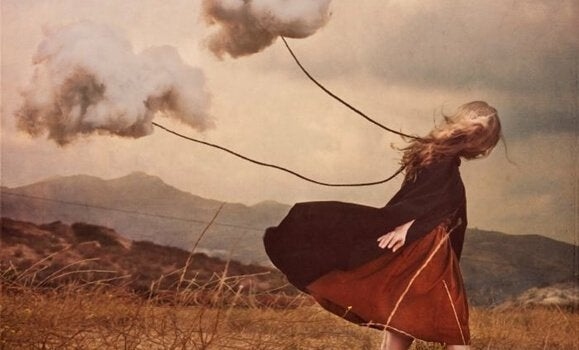 Clouds following a girl