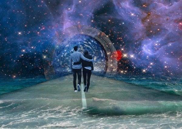 Couple walking in love
