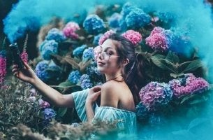 Girl surrounded by flowers