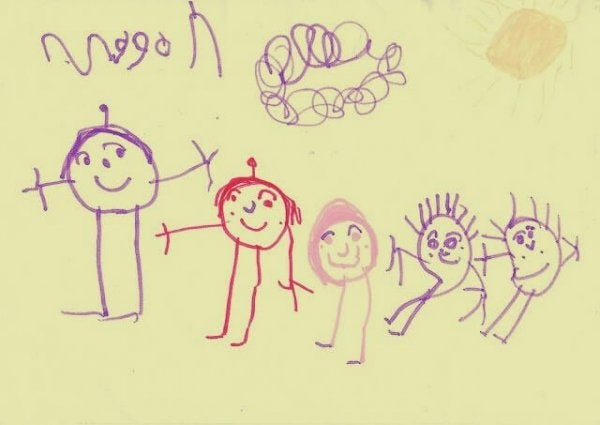 A happy family in a drawing.