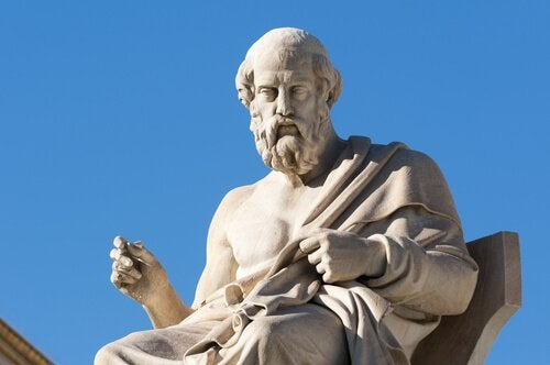 statue of Plato, the philosopher who we got the idea of Platonic love from
