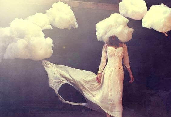 A woman with clouds.