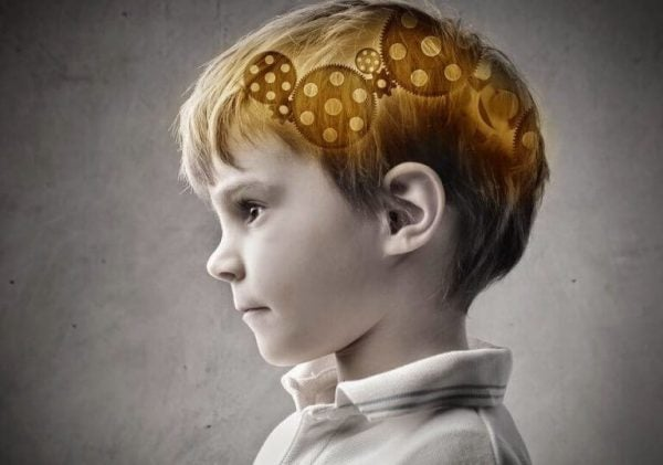 Cogs inside boy's brain