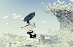 Man on waves of paper