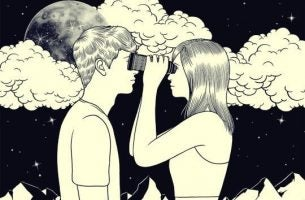couple looking at each other with kalaidoscopes