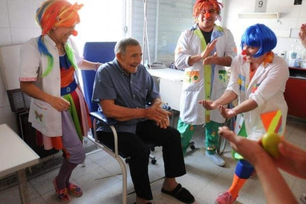 a patient participating in laughter therapy