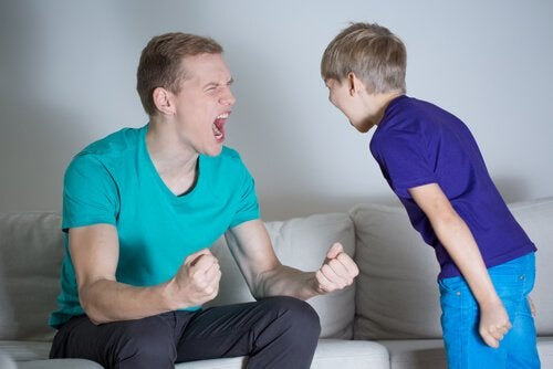 Father yelling at kid.