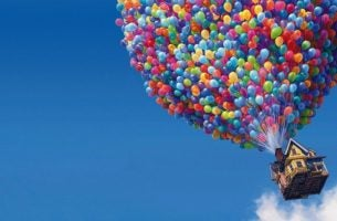 Image from Pixar film Up, house flying with balloons