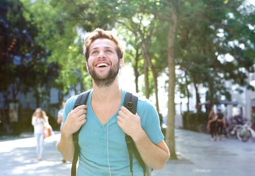 happy man walking for fitness