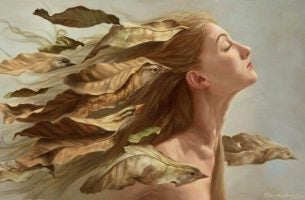 Woman with birds in her hair