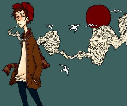 Drawing of Holden Caulfield smoking.