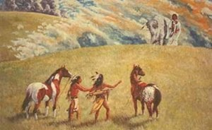 Native Americans in a painting.