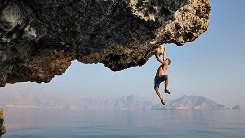 Alex Honnold climbing.