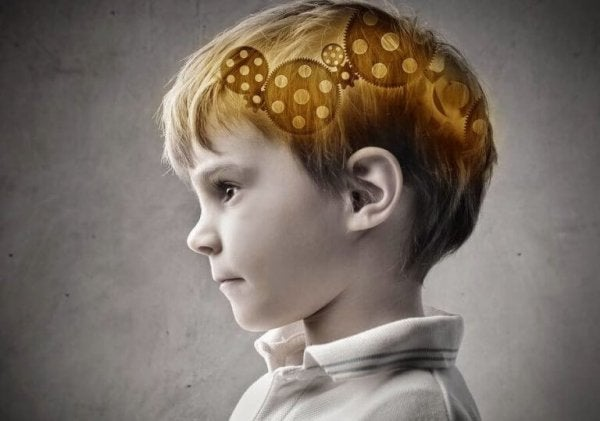 Boy with gears in his brain.