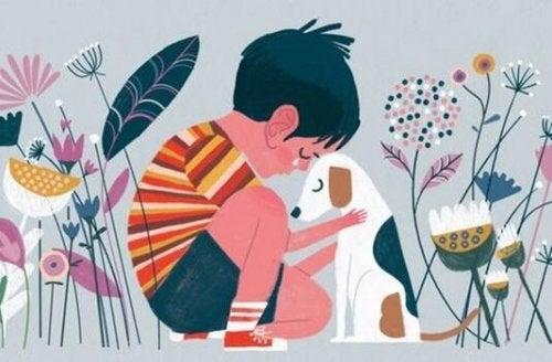 A boy crying hugging a dog.