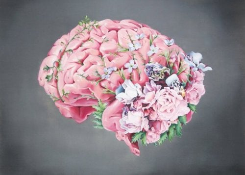 Brain with flowers.