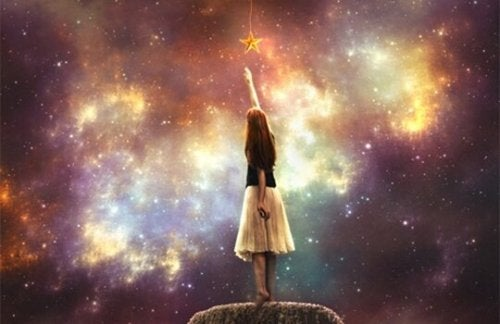 A girl reaching for the stars.