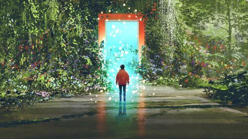 A man walking into a door.