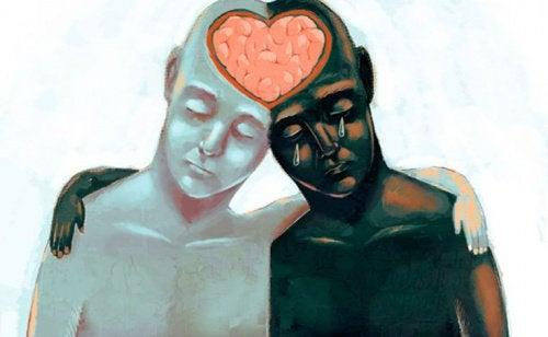maleri af mørk og lys person der deler hjerte i hjernen som symbol for at blive bedre til at diskutere