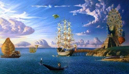 en fantasiverden med hav og skibe
