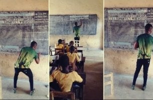 Ghanaian professor teaching.