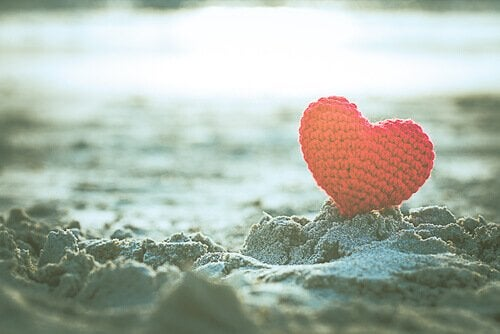 A heart in the sand.