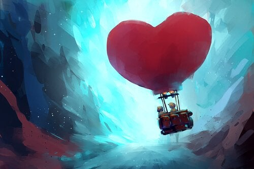 Two people floating in a heart-shaped balloon.