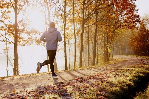 A man running in the woods.
