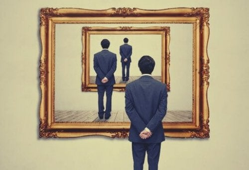 Man looking into multiple mirrors.