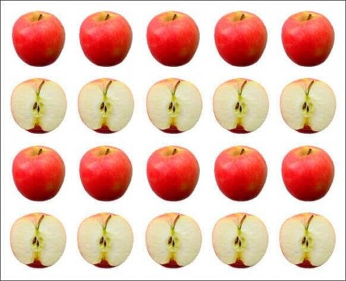 Rows of apples.