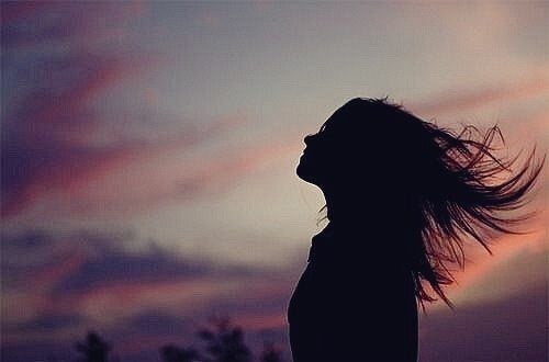 Girl with the wind in her hair.