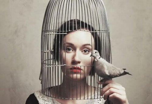 A woman in a cage being too silent.