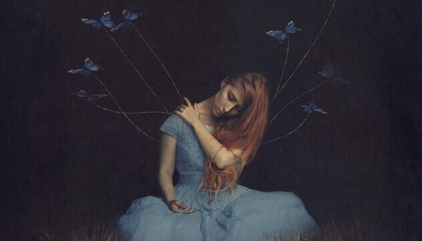 Girl with tied up butterflies symbolizing ego traps.