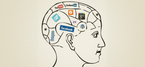 A man's brain filled with social media platforms.
