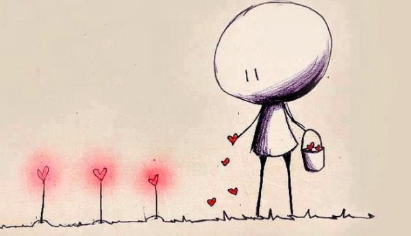 Stick figure planting love.