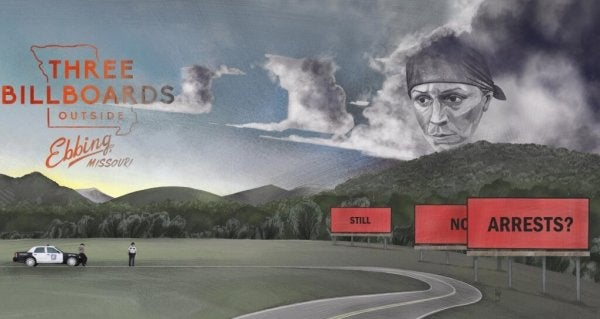Poster for Three Billboards Outside Ebbing, Missouri.