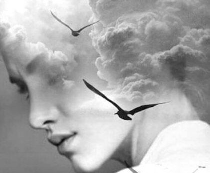 Woman face with birds.