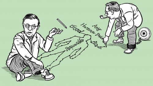 Cartoon of satre drawing a person on the floor.