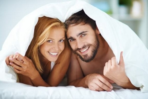Sexual communication couple in bed.