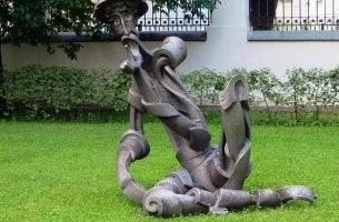 Don Quixote and statue