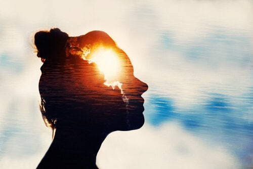 Woman using mental training exercises with a light in her mind.