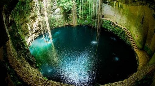 A Mexican cenote in the Yucatan.