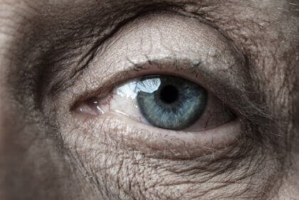 The eye of an elderly person.