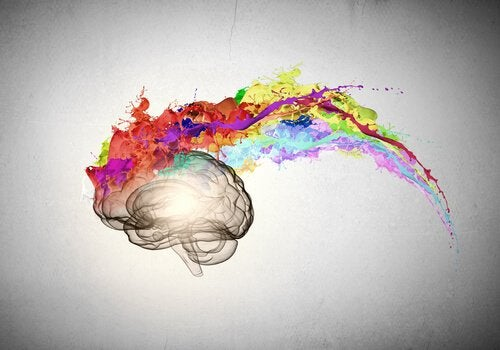 An artistic depiction of an optimist's brain with colorful explosion.